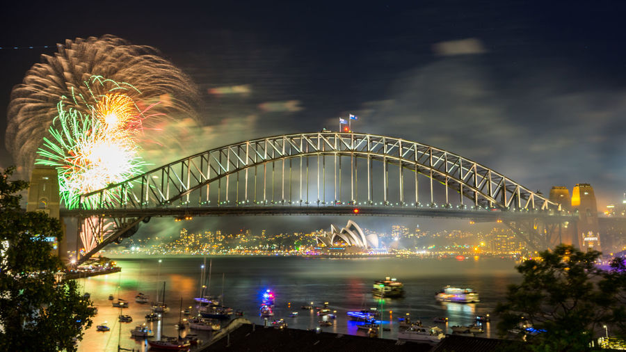 Sydney Harbour Bridge Fireworks Display during New Year eve 2017 Bridge - Man Made Structure City Cityscape Firework Display Harbor Horizontal Icon Midnight New Year New Year's Eve Night Outdoors People Steel Water