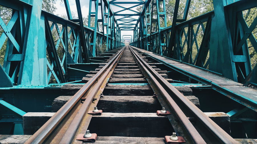 Railroad Tracks On Metallic Bridge