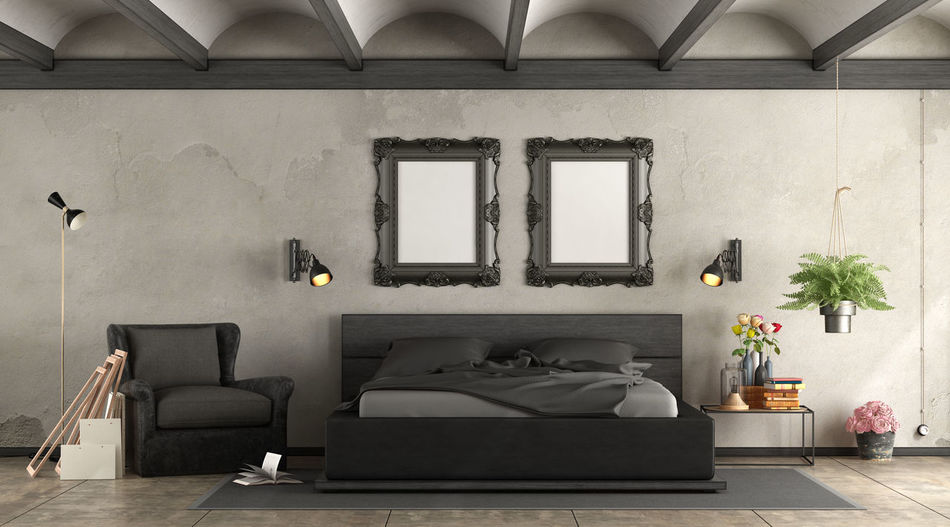 Bed Retro Wood Arch Ceiling Architecture Armchair Bedroom Black Coffee Table Domestic Room Electric Lamp Furniture Home Home Interior Indoors  Lighting Equipment No People Old Picture Frame Pillow