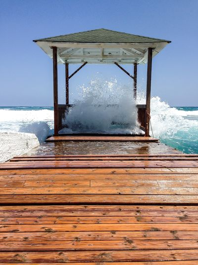 Sea Water Sky Nature Wood - Material Motion Day Architecture Wave Horizon Over Water Horizon Land Scenics - Nature Beauty In Nature No People Beach Built Structure Aquatic Sport Clear Sky Outdoors Power In Nature Breaking