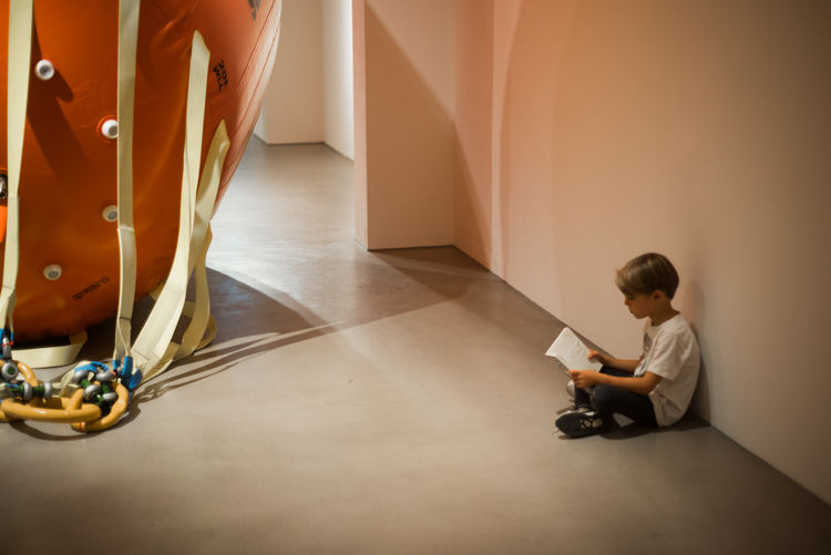 Art Child Concentration Full Length Gallery Indoors  Kid Museum Reading Sitting
