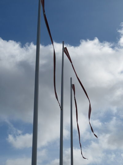 Flag Pole Banner In A Row Sky Cloud - Sky Repetition My Best Photo