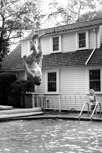 Amazed Backflip Diving Board Father & Son Father And Son Flip Impressed Jumping M Outdoors Pool Summer Swimming Swimming Pool EyeEmNewHere