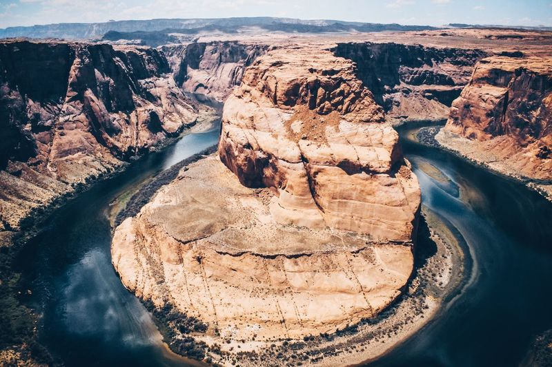High angle view of dam