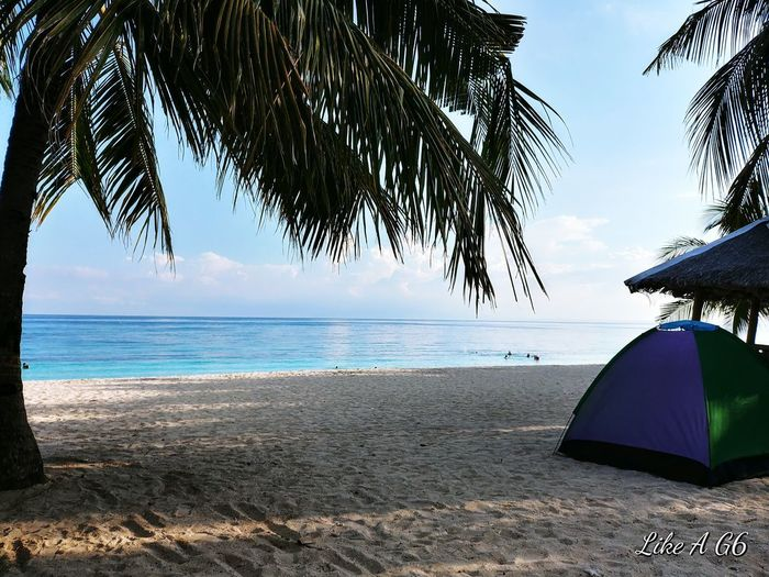 Beach Sea Horizon Over Water Sand Water Day Tree Travel Destinations Outdoors Vacations Sky Landscape Beauty In Nature Kalanggaman Island Phillipines Wheninleyte Cellphone Photography Lgg6 Ten Camping Island
