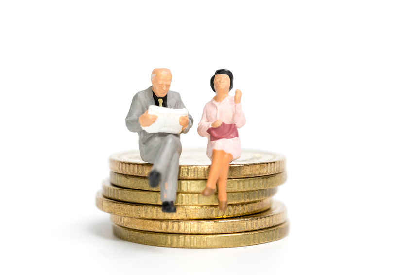 Miniature people: Money and financial concepts. Bangkok Currency Figure Growth Investing in Quality of Life Rich Businessman Cash Coins Concept Cost Deal Deposit Finance Financial Income Inflation  Investment Miniature Money People person Saving Wealth White Background
