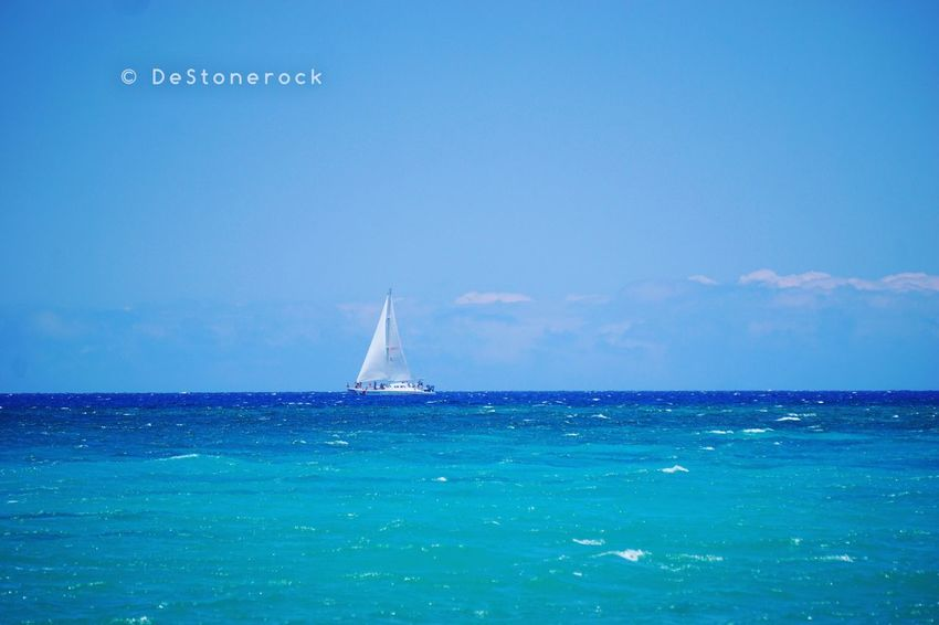 Sailboat Sea Blue Water Nautical Vessel Scenics Tranquil Scene Sailing Outdoors Day Photograph Photography Camera Practice Hawaii