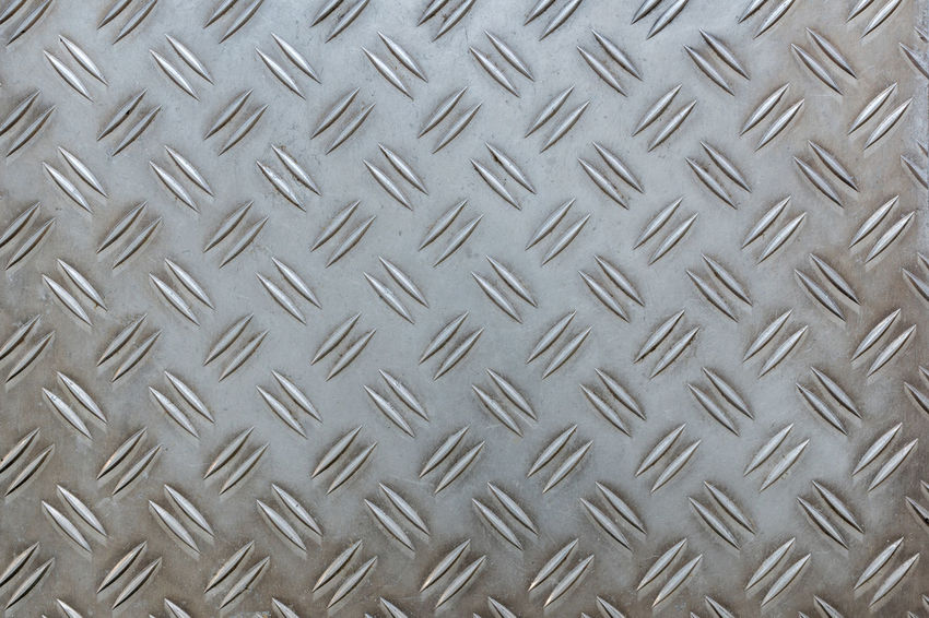 Old Used Aluminium Checker plate Abstract Alloy Aluminum Backgrounds Brushed Metal Checker Plate Close-up Design Diamond Shaped Full Frame High Angle View Indoors  Metal No People Pattern Plate Repetition Sheet Metal Silver Colored Steel Textured  Toughness