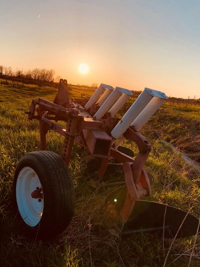 Plow Sky Sunset Nature Sunlight Field Transportation Land Lens Flare Agriculture Mode Of Transportation Land Vehicle Outdoors No People Sunbeam Sun Plant Clear Sky Landscape Rural Scene Bicycle