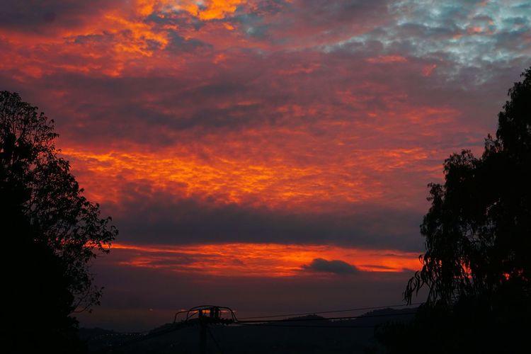sky clouds red