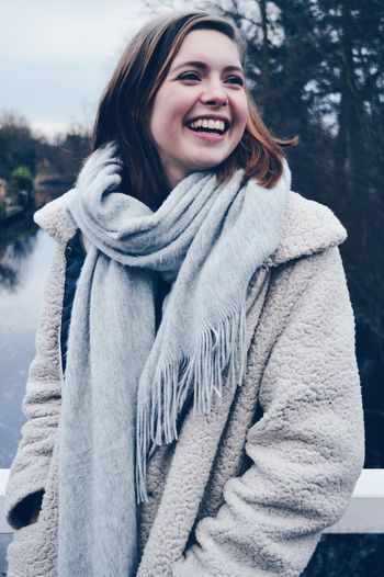 Beautiful smile of my beautiful sister Uniqueness Winter Cold Temperature Beautiful People Young Adult Women Smiling Scarf Laughing Happy Fresh On Eyeem  Women Around The World The Portraitist - 2017 EyeEm Awards Shades Of Winter