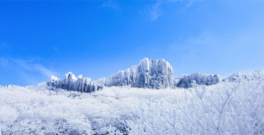 Blue Cold Temperature Frozen Mountain Nature Non-urban Scene Sky Snow Tree Weather Winter