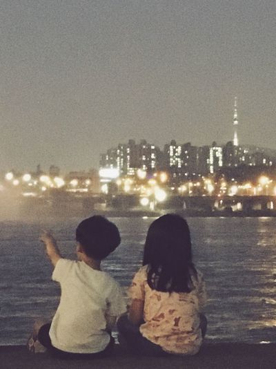 Let's Go. Together. Togetherness Lifestyles City Childhood Night River