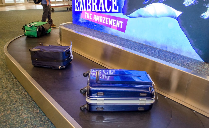 collecting luggage at the baggage carousel in the Orlando airport Orlando International Airport Travel Trip Airport Architecture Baggage Baggage Carousal Baggage Check Blue Close-up Collecting Luggage Communication Day High Angle View Indoors  Luggage Motion Sign Text Transportation Vacation Western Script The Traveler - 2018 EyeEm Awards