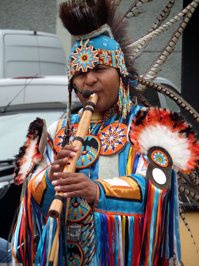 Colourful. Day Ethnic. Mexican. Multi Colored Music Native Costume. Native. Pipe. Single Figure. Street Musician. Three Quarter Length