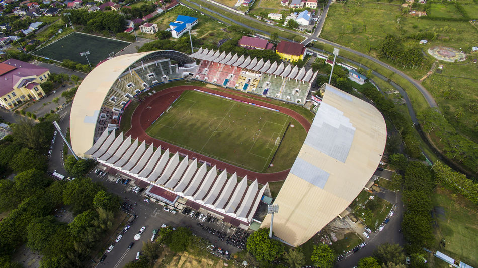 Harapan Bangsa Stadium The first stadium In Banda Aceh on July 4, 2018 Football Aceh Olahraga Empty Playing Field Grass Water City Panoramic Stadium Team Sport No People Aerial View Built Structure Arts Culture And Entertainment Nature Outdoors Architecture Tree Plant Day High Angle View Sport Leisure Activity