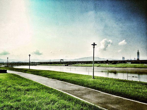 Road Park River Enjoying The Sun