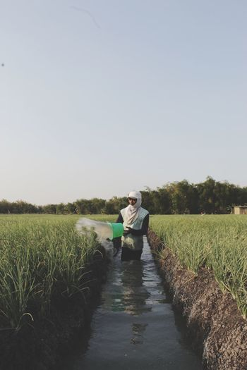 Farmer watering crops on agricultural field against sky