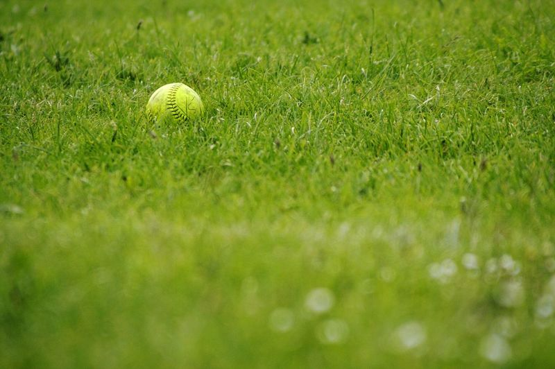 Close-up of green ball on field