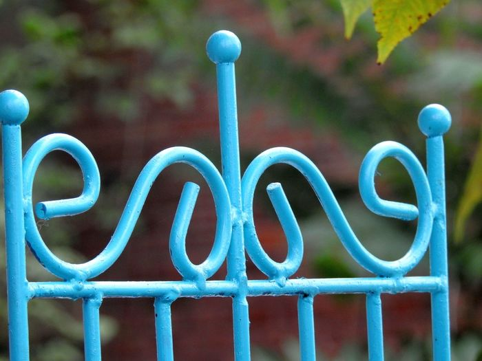 Close-up of blue painted metal