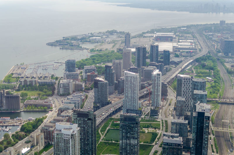 High Angle View Of Buildings And Sea