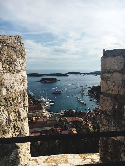 View from the ramparts Water Sky Sea Castle Stone Material Town View From Above Framed View Of Town Hvar Croatia Historic Building