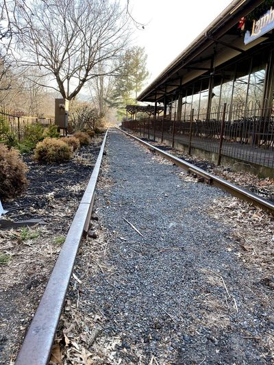 Surface level of railroad tracks against buildings
