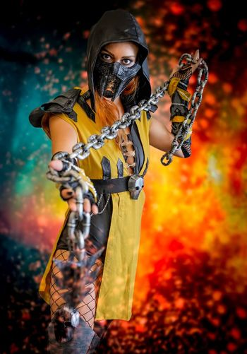 Scorpion Cosplayer Cosplay Nycc2018 NYCC One Person Real People Standing Holding Arts Culture And Entertainment Looking Away Young Adult Front View Orange Color Headwear Event