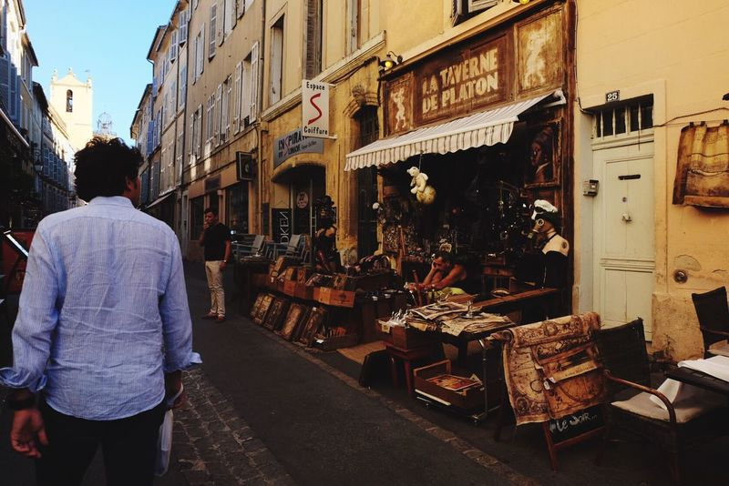 Rear View Men One Person Real People Building Exterior Architecture Built Structure City Outdoors Full Length One Man Only Sky Day Only Men Adults Only Occupation Adult People Provence Aix-en-Provence France Bottega Shop Vintage Streetphotography