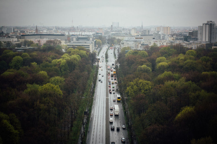 Berlin City City City Life Cityscapes Diminishing Perspective Elevated View From Above  Germany Green Color Horizon Looking Down No People Road Road Sky The Way Forward Traffic Tree Trees Vanishing Point Victory Column View From Victory Column The Architect - 2016 EyeEm Awards Battle Of The Cities