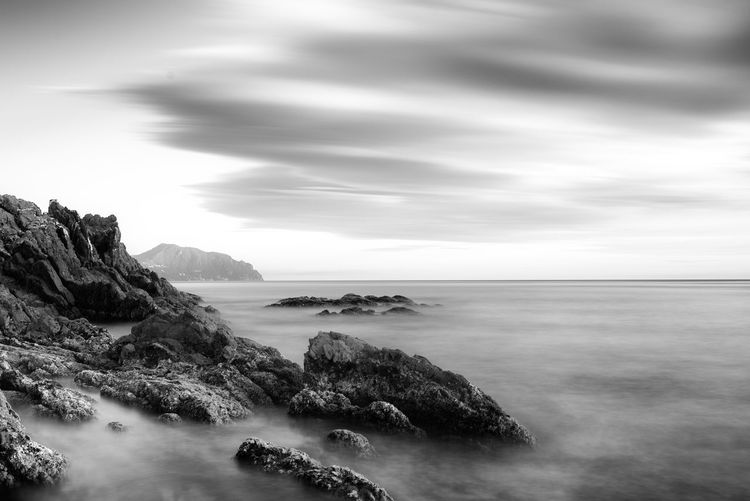 Genova Nervi, Italy Sea Water Sky Scenics - Nature Beauty In Nature Horizon Over Water Horizon Cloud - Sky Tranquil Scene Tranquility Land Rock Nature No People Rock - Object Long Exposure Rocky Coastline Bw Bw_collection BW_photography Blackandwhite EyeEm Selects EyeEm Nature Lover Genova Liguria
