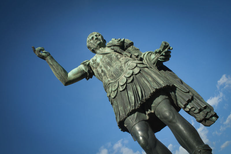 Antique Caesar Giulio Cesare Rome Statue Blue Clear Sky Day Historic Human Representation Italy Low Angle View No People Outdoors Sculpture Shield Sky Statue