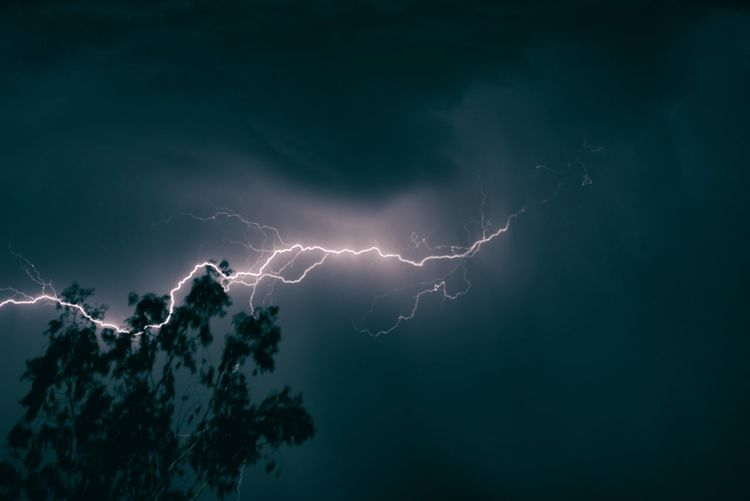 Low angle view of lightning and silhouette trees against cloudy sky at night