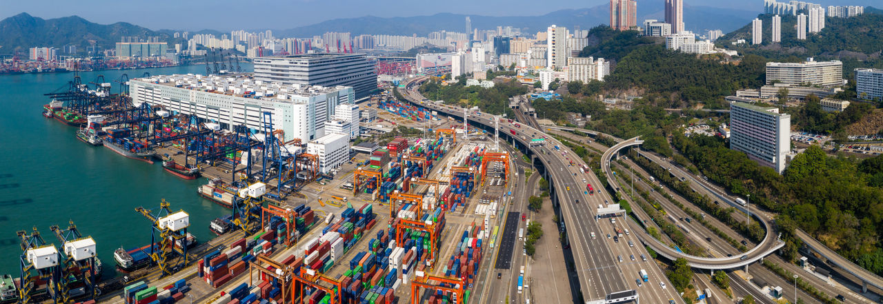 Aerial view of cargo containers in city