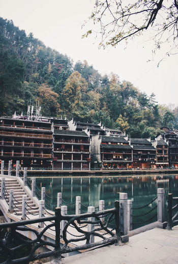 Ancient China Beauty FengHuang Houses Absence Ancient City Architecture Building Exterior Built Structure China Culture Heritage Heritage Building Lake Landscape Nature Naturelovers No People Outdoors Sky Tranditional Tree Water Wood - Material