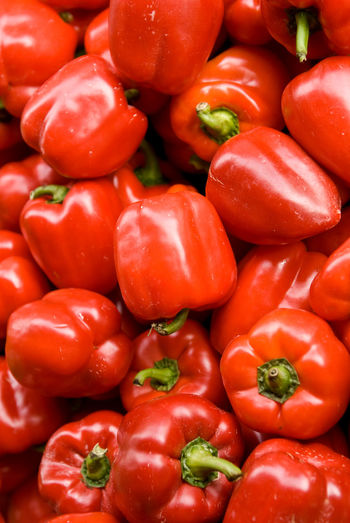 Full frame shot of bell peppers at market stall