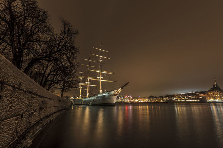 Af Chapman  Stockholm Stockholm, Sweden Winter Architecture Beauty In Nature City Illuminated Nature Nautical Vessel Night No People Outdoors Sailing Sea Skeppsholmen Sky Snow Transportation Water Waterfront