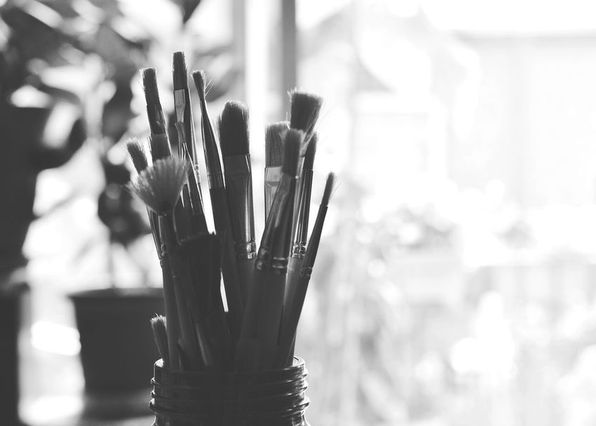 Paintbrushes Still Life Art Crafts Painting Taking Photos Glass Jar Blackandwhite Black And White Monochrome