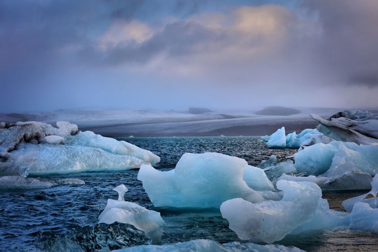 Iceland - icebergs Nature Beauty In Nature Water Sky Sea Cold Temperature Tranquil Scene Tranquility Frozen Scenics Ice Iceberg Idyllic No People Cloud - Sky Winter Day Glacier Outdoors