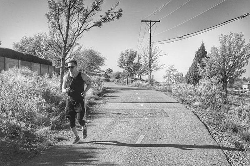 A man jogs on