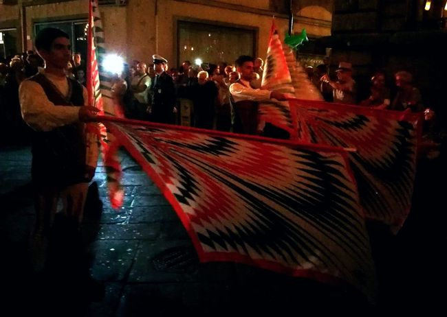 Illuminated Night Historical Parade People Photography Street Photography Flags Flagging