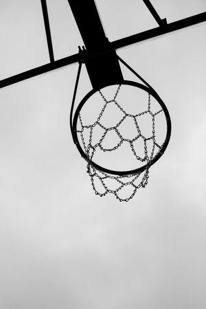 Basketball Hoop Ball Sports Basketball Hoop Chain Circle Close-up Focus On Foreground Hanging Metal Metallic Pattern Sky Sport