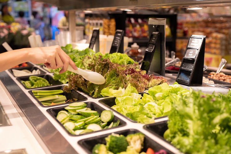 Salad bar and buying in super market Clean Food Convenience Department Store Salad Supermarket Buying Food Food And Drink Healthy Eating Healthy Lifestyle Holding Market Salad Bar Vegetable Vertebrate