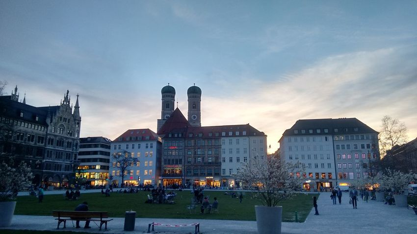 Church Munich Skyline Architecture Building Exterior Built Structure City Crowd Day Large Group Of People Men Nature Outdoors People Real People Sky Sunset Travel Destinations Women