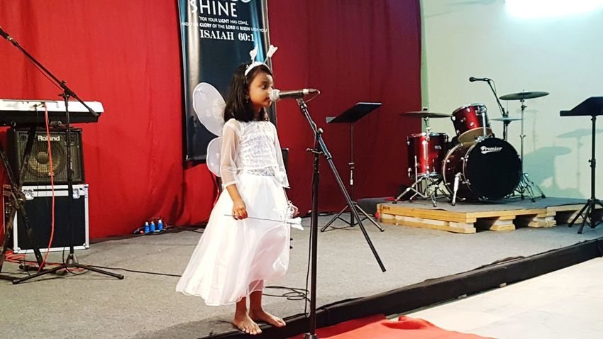 Angel Wings Angel Dress Little Girl Musician Musical Instrument Microphone Young Women Recording Studio Skill  Women Arts Culture And Entertainment Music Performance