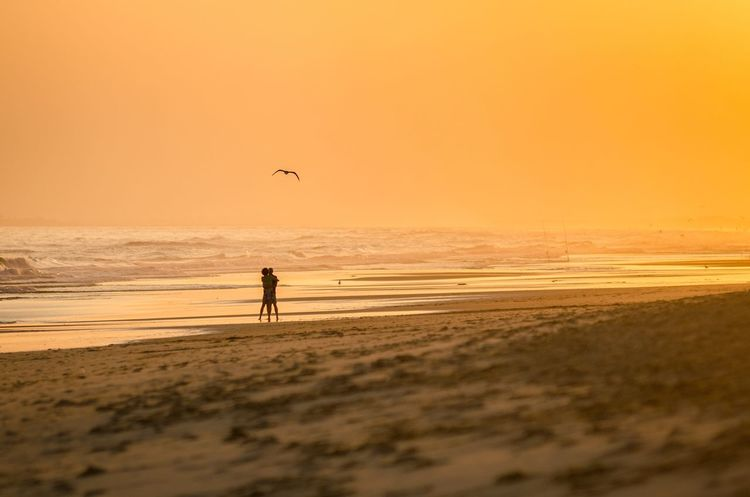 Portugal Altura SPAIN Algarve Beach Sunset Sea Sand Scenics Water Waves Orange Light Outdoors Shore Beauty In Nature The Week On EyeEm Tranquil Scene Vacations Silhouette Horizon Over Water Tranquility Nature Clear Sky Real People