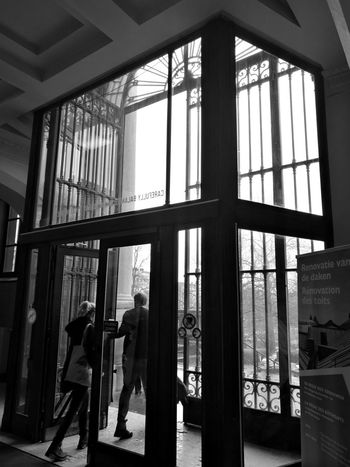 Window Indoors  Men Silhouette Two People Architecture Adults Only Exhibition Center Shadows & Lights Museum Of Art Brussels❤️ Geometric Structures Geometric Architecture Geometric Shape Contrast Exhibition Real Life Curiosity Exhibition Urban Scenes