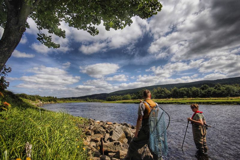 Salmon fishing on the River Spey - Rothes SalmonFishing Riverspey Rothes Fishing Ghillie Waders Scotland