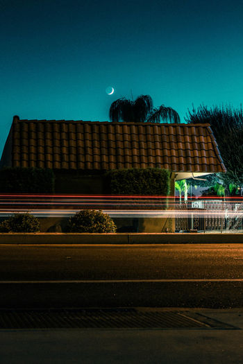 Light trails on road at night