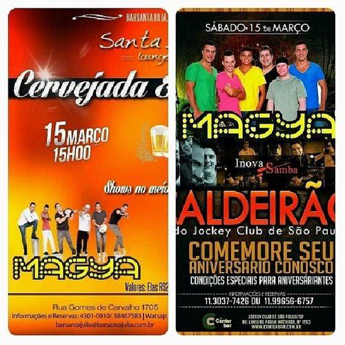 Shows hoje no Santa Júlia MaGya e Ademir Fogaça e logo após MaGya e Inova Samba no Canter (Jockey Club) Vemtodomundooo